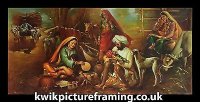 """Traditional Punjab Village In India In Size - 40"""" X 20"""" inches Picture Framing"""