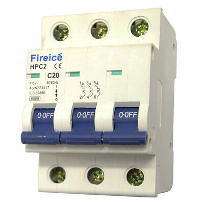 20AMP - Fireice - MCB 3 Pole 6kA - Circuit Breaker for Switchboard ! Three Phase