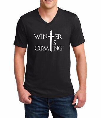 Men's V-neck Winter is Coming T-shirt Game of Thrones Tee T Shirt Christmas Gift