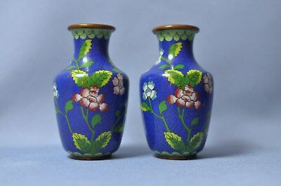 Fine Old Chinese Brass Cloisanne Enamel floral decorated Vase in Pair