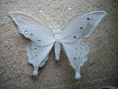 Clip On - Christmas Ornament - Beautiful White Clip On  Butterfly