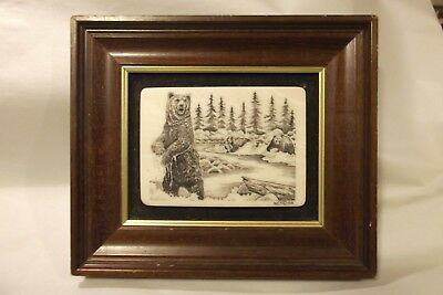 Vintage NCT©BA Newport Connecticut Faux Scrimshaw Engraved Plaque Grizzly Bears