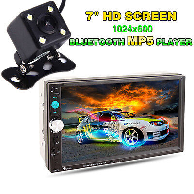 "Bluetooth 7"" Double 2DIN Car MP5 Player HD Touch Screen Stereo Radio + Camera"