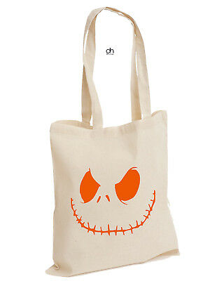 Jack Smiley Scary Pumpkin Halloween Cotton Tote Spooky Costume Fancy(SMILEY,BAG)