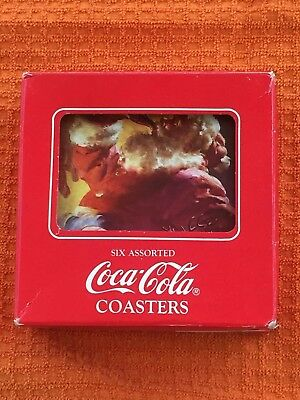 coca cola coaster set of six original box and price tag ( coca cola fifth ave)