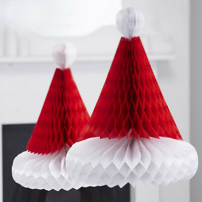 Ginger Ray Red & White Honeycomb Santa Hats, Christmas Decorations - pack of 2
