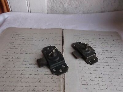 French antique iron latch lock bolt set of 2 c.1900 - 30 country hardware