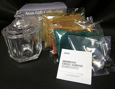 """AVON GIFT COLLECTION Glistening Creation Candle Glass Candle Holder DIY 3.5"""" VTG"""