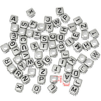 Jewellery Making Silver Coloured Alphabet Single Mixed Letters Cube Beads 100pcs