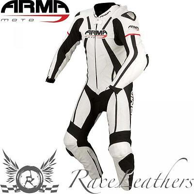 Armr Harada R Leather One Piece Motorcycle Motorbike Race Suit White Black Red