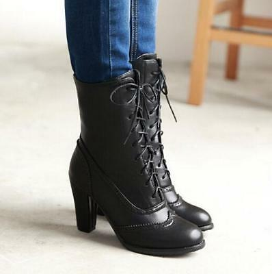 eee5a21990ee Gothic Punk Riding Boots Womens Chunky Heel Shoes Mid-Calf Casual Lace Up  Brogue