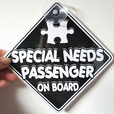 NEW  Autistic  SPECIAL NEEDS PASSENGER  Non Personalised Baby on Board Car Sign
