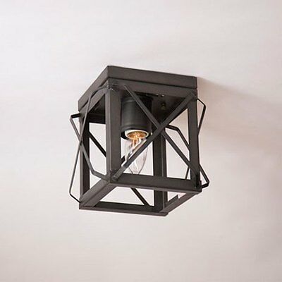Irvin's Tinware Single Ceiling Light With Folded Bars - Primitive Lighting - New
