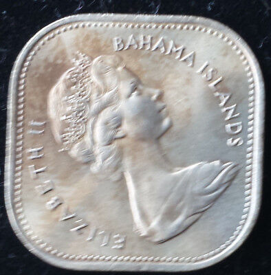 1966 Bahamas Fifteen cent Coin From Royal mint Proof Set Square Queen Elizabeth