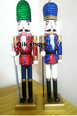 Sequin Nutcracker Soldier Christmas Display Decoration Wooden 38 cm Tall