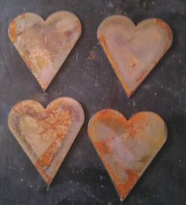 Lot of 4 Rusty Rough Hearts 3 in Metal Wall Art Stencil Ornament Craft Magnet