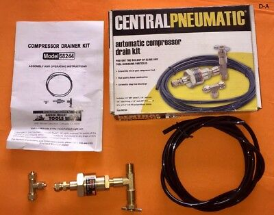 Central Pneumatic Automatic Air Compressor Drain Kit Remove Moisture