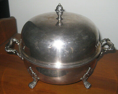 Antique 1890s Silverplate on Copper Serving Dish, Made England, 3 Makers Marks
