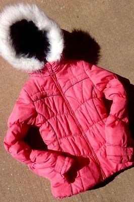 Girls London Fog Puffer Coat 10/12 Pink With Faux Fur Hood, Quilted Puffer Coat