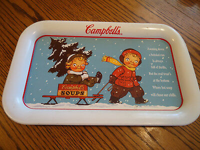 Vintage Campbell's Soup Tray Campbell Kids and Sled 14 x 8.5
