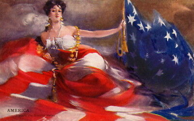 1907 Barribal~Woman w American Flag~Flags of Nations Series~NEW Large Note Cards