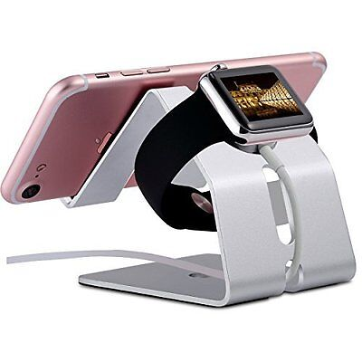 Apple Watch Stand 38 42mm Aluminium Holder iPhone 7/7 Plus/6s/6 Plus Silver