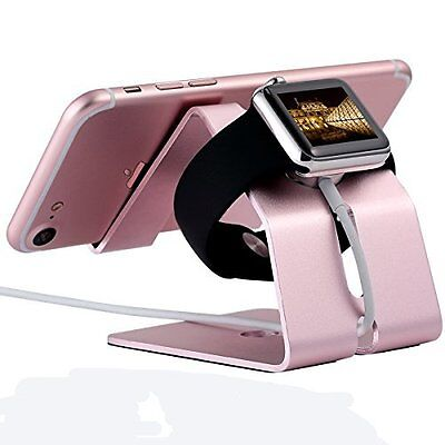 Apple Watch Stand 38 42mm Aluminium Holder iPhone 7/7 Plus/6s/6 Plus Rose Gold