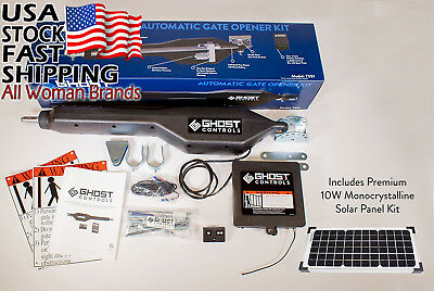 Ghost Controls TSS1XP Heavy-Duty Solar Single Automatic Gate Opener Kit for...