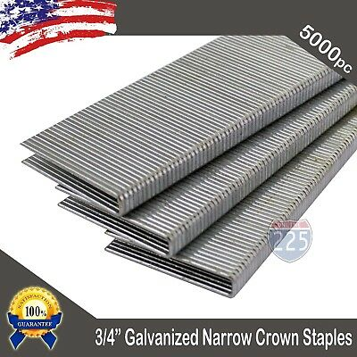 "3/4"" Inch Long 18 Ga. Gauge 1/4"" Narrow Crown Galvanized Staple 5000 Pcs Box ""L"""