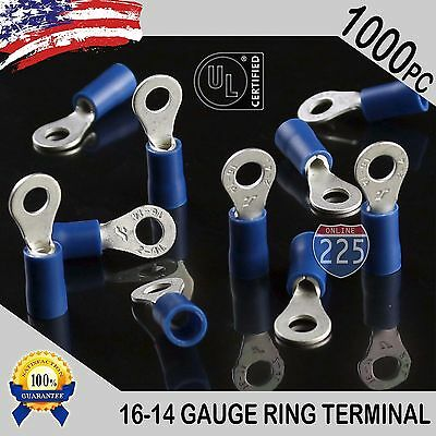 1000 PACK 16-14 Gauge #8 Stud Insulated Vinyl Ring Terminals Tin Copper Core US