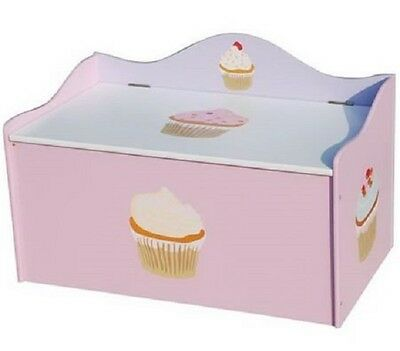 Kids Girls Cup Cake Toy Box Wooden Storage Bedroom Playroom Furniture