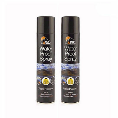 2 x WATERPROOF SPRAY FOR TENT CLOTH SHOES FISHING CAMPING FABRIC PROTECTOR 300ML