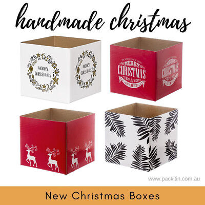 x25 CHRISTMAS XMAS GIFT BOXES OWN CHOICE BASE *NO LIDS* - size 13x13x11.5cm