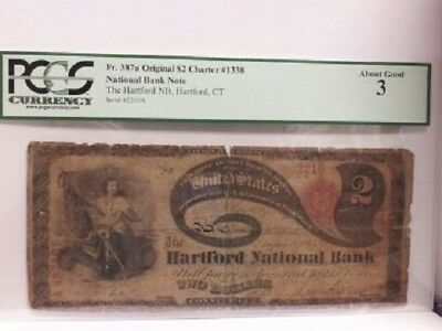 Original 1865 $2 Lazy Deuce Hartford Connecticut PCGS 3...  Only 2 on Census