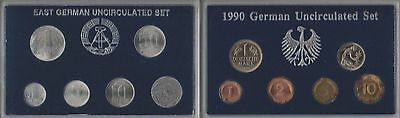 1990 German Uncirculated 6 Coin Set & East Germany Unc 6 Coin Set 1982-1990 #5