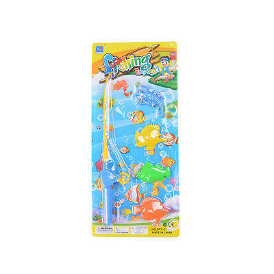 Children 1 Root Rod Fishing Toys with 4 Magnetic Fish Play Pool Game Play Toys