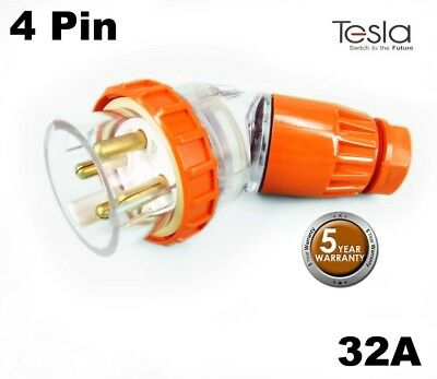Tesla 32 AMP 3 Phase 4 Pin Round Angled Male Industrial Plug Top