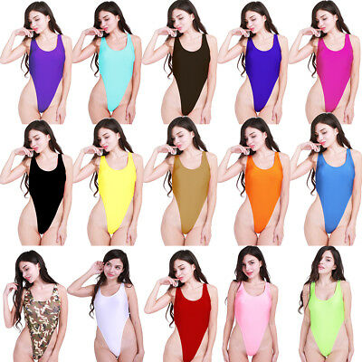 Women One-Piece Stretchy Bikini Swimsuit Swimwear Beachwear Bodysuit Leotard Top