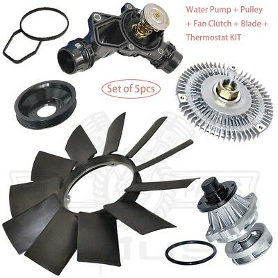 WATER PUMP PULLEY FAN BLADE CLUTCH THERMOSTAT EXPANSION TANK CAP KIT for BMW E46