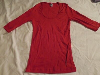 New Womens Red Super Stretch Cotton Soft Long Sleeve Form Fit Shirt Medium