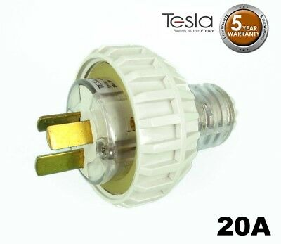 Tesla 20 AMP 3 Pin Flat Industrial Electrical Captive Plug IP66 Grey