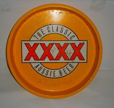 XXXX Beer full metal round bar drink serving tray 4 home bar pub collector rare