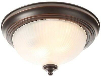 2-Light Flush Mount Ceiling Fixture Oil-Rubbed Bronze Round Glass Dome Shade Kit