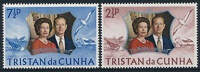 1972 Tristan Da Cunha Royal Silver Wedding Anniversary Set Of 2 Fine Mint Mnh