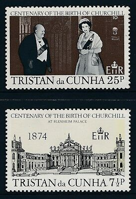 1974 Tristan Da Cunha Churchill Birth Centenary Set Of 2 Fine Mint Mnh