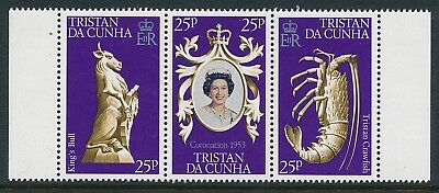 1978 TRISTAN DA CUNHA CORONATION 25th ANNIVERSARY STRIP OF 3 FINE MINT MNH