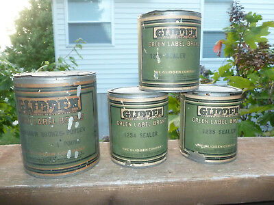 (4) Vintage Glidden Paint Cans Paper Label OLD Antique Green Label