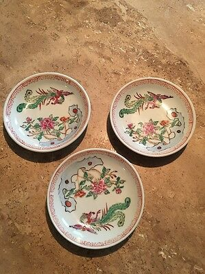 "3 Chinese Asian 4"" Saucers Red And Green Floral"
