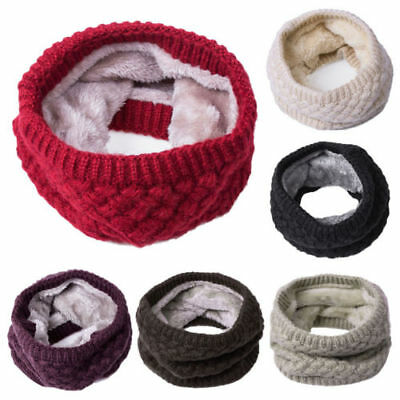 Unisex Men Children Winter Warm Infinity Cable Knitted Neck Velvet Scarf Shawl