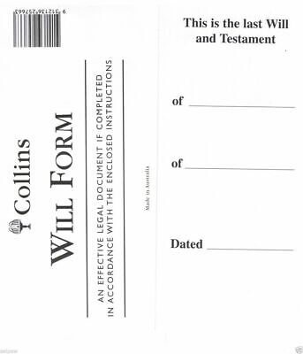 2 X Collins Australian DIY Will Forms Will Pack, Will Kit With Envelope & Instru